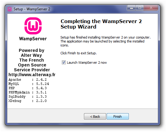 WAMP completion setup wizard