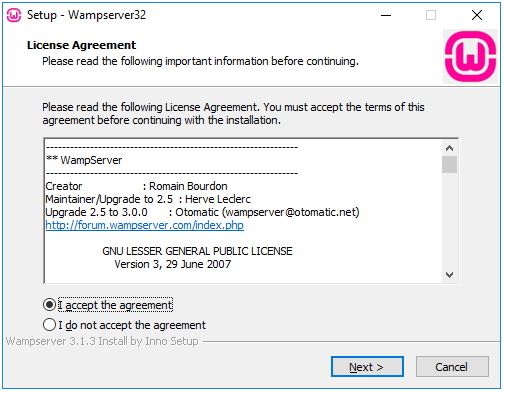 WAMP agreement Dialog