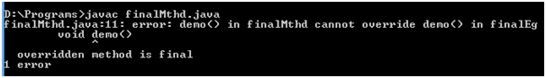 Java Final method error