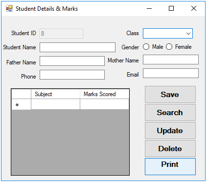 Student Report empty form