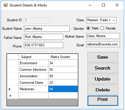 Student Report filled form