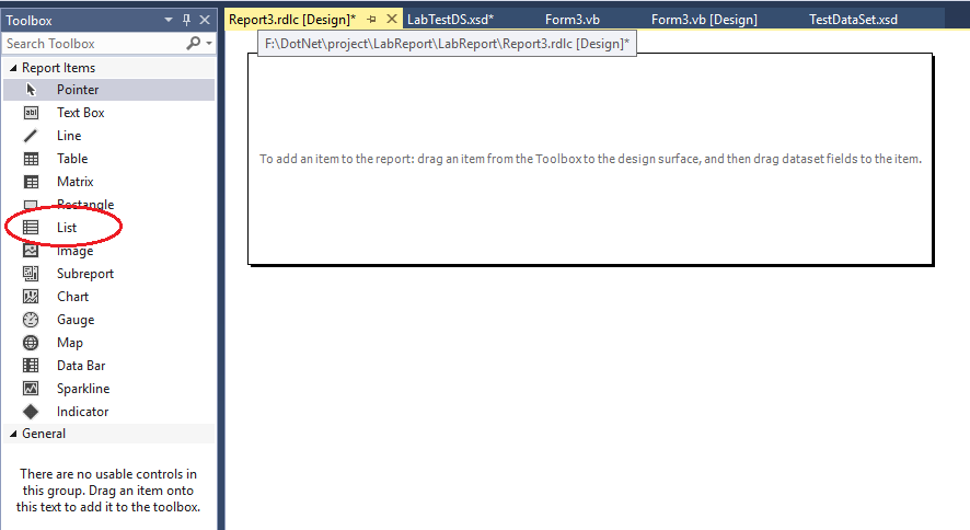 7 خطوات لإنشاء تقرير بيانات في VB.NET باستخدام اداة التقارير Reportviewer Reportdesigninterface
