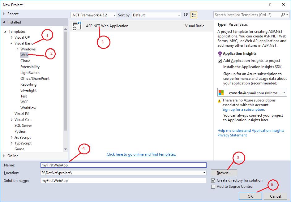 select ASP.NET Web Application