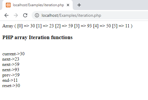 PHP array iteration functions